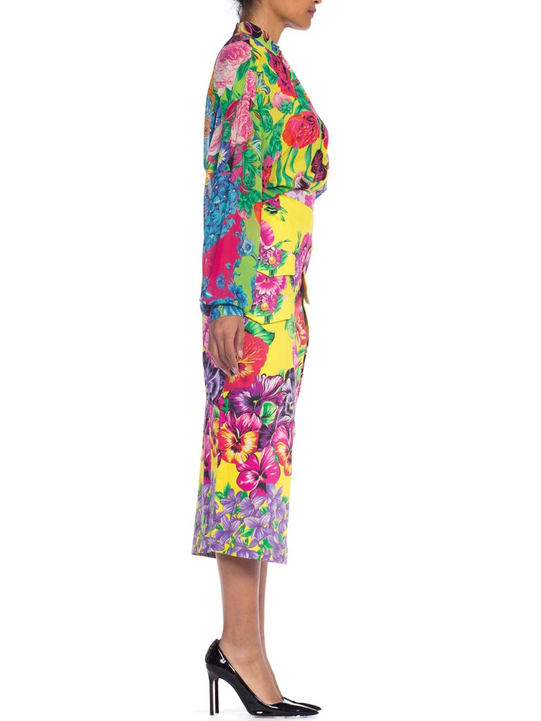 Gianni Versace High Slit Skirt With Versus Sheer Blouse Set In Excellent Condition For Sale In New York, NY