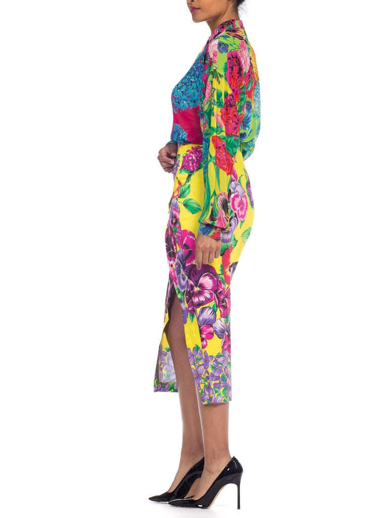 Gianni Versace High Slit Skirt With Versus Sheer Blouse Set For Sale 1