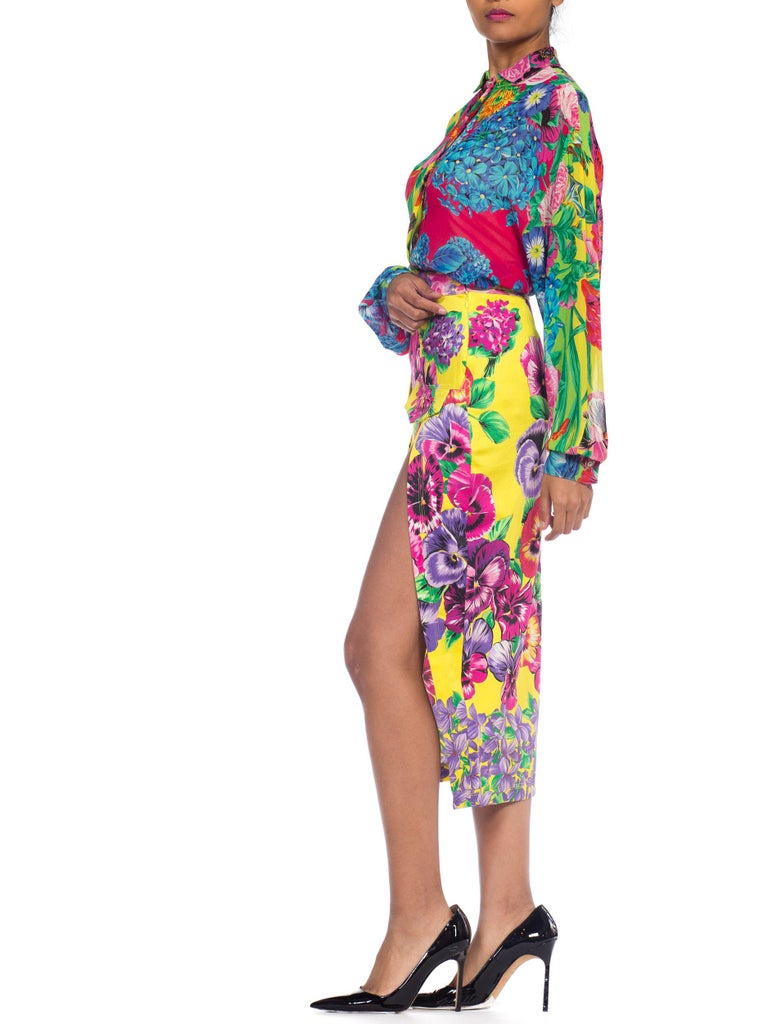 Gianni Versace High Slit Skirt With Versus Sheer Blouse Set For Sale 2
