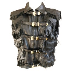 Gianni Versace Iconic 1992 Fringed Leather Vest with Buckle Strap Closures
