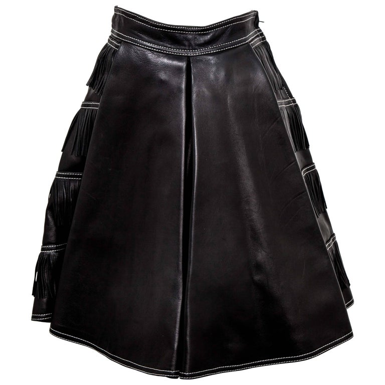 Gianni Versace iconic leather fringe skirt in black from 1992 collection. IT size 38.