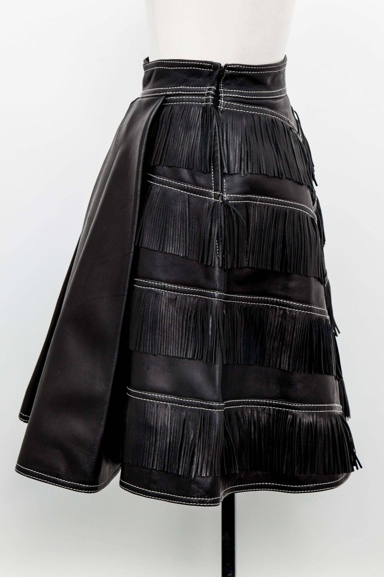 Gianni Versace Iconic 1992 Runway Black Leather Fringe Skirt In Excellent Condition For Sale In Chicago, IL