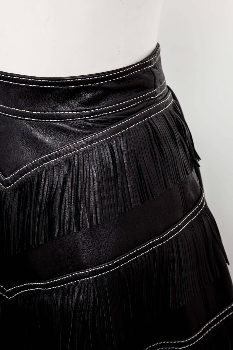 Women's Gianni Versace Iconic 1992 Runway Black Leather Fringe Skirt For Sale