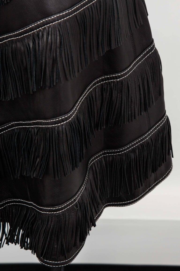 Gianni Versace Iconic 1992 Runway Black Leather Fringe Skirt For Sale 1