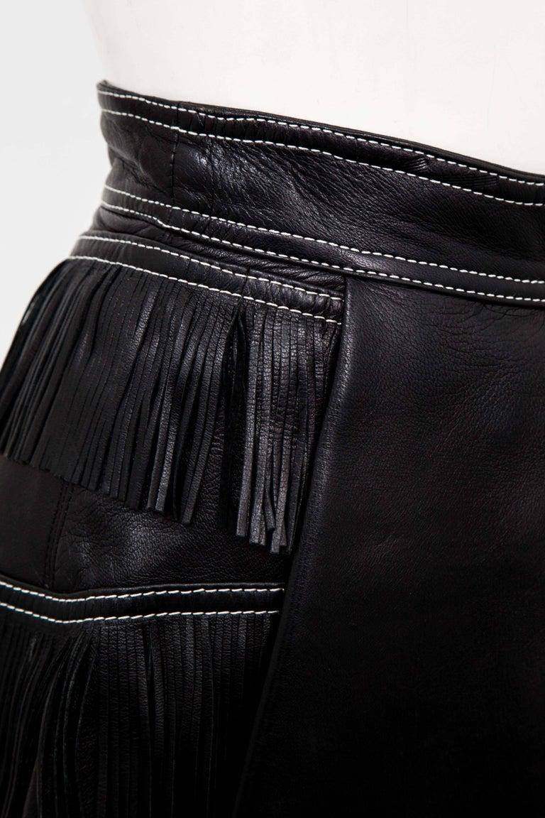 Gianni Versace Iconic 1992 Runway Black Leather Fringe Skirt For Sale 2