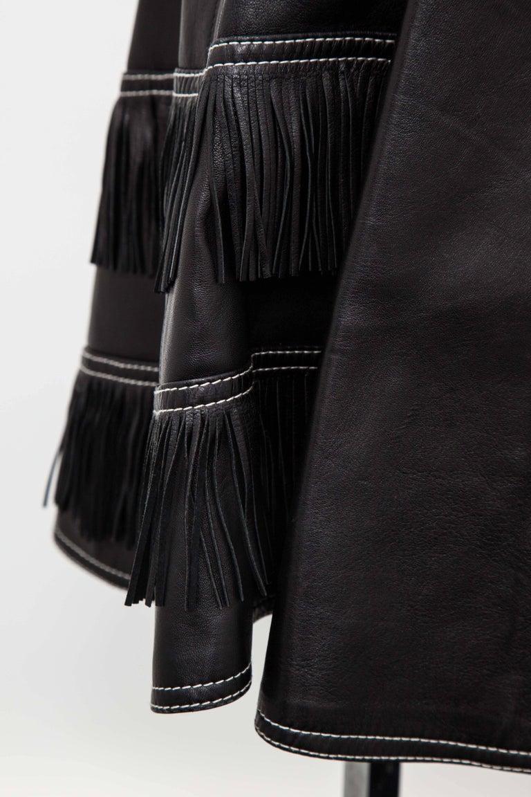 Gianni Versace Iconic 1992 Runway Black Leather Fringe Skirt For Sale 3