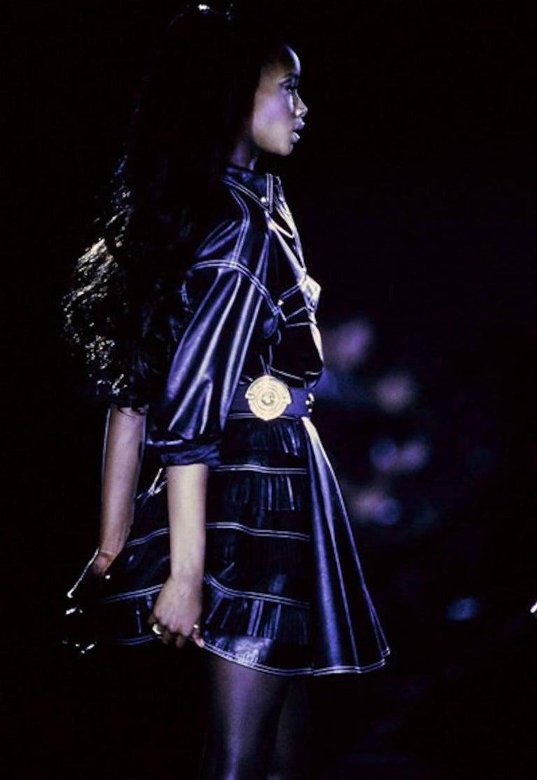 Gianni Versace Iconic 1992 Runway Black Leather Fringe Skirt For Sale 5