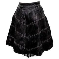 Gianni Versace Iconic 1992 Runway Black Leather Fringe Skirt