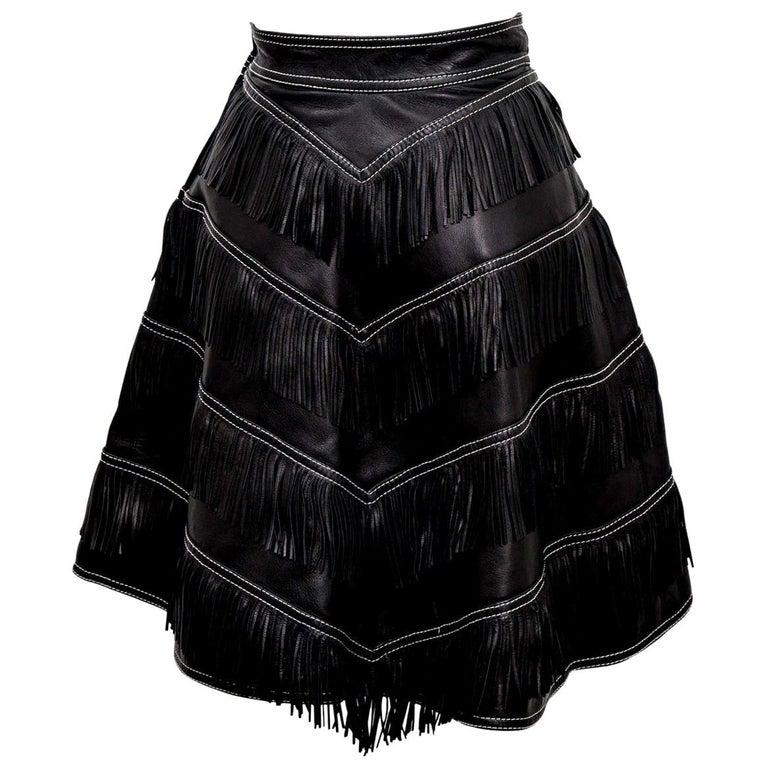 Gianni Versace Iconic 1992 Runway Black Leather Fringe Skirt For Sale