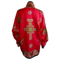 "Gianni Versace Iconic ""Cross Gem "" Print Silk Shirt"