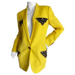 Gianni Versace Iconic Fall 1992 Screaming Yellow Jacket with Leather Details