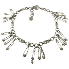 Gianni Versace Iconic Silver Toned Iconic Safety Pin Belt/Necklace