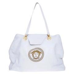 Gianni Versace Iconic white leather logo shoulder bag