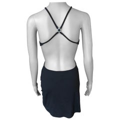 Gianni Versace Intensive Vintage C. 1990's Cutout Open Back Black Mini Dress