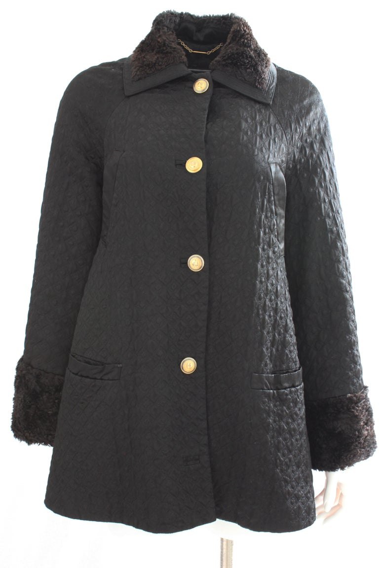 Gianni Versace Jacket or Swing Coat Diamond Quilted Black Satin with Fur Trim 38 In Good Condition For Sale In Port Saint Lucie, FL
