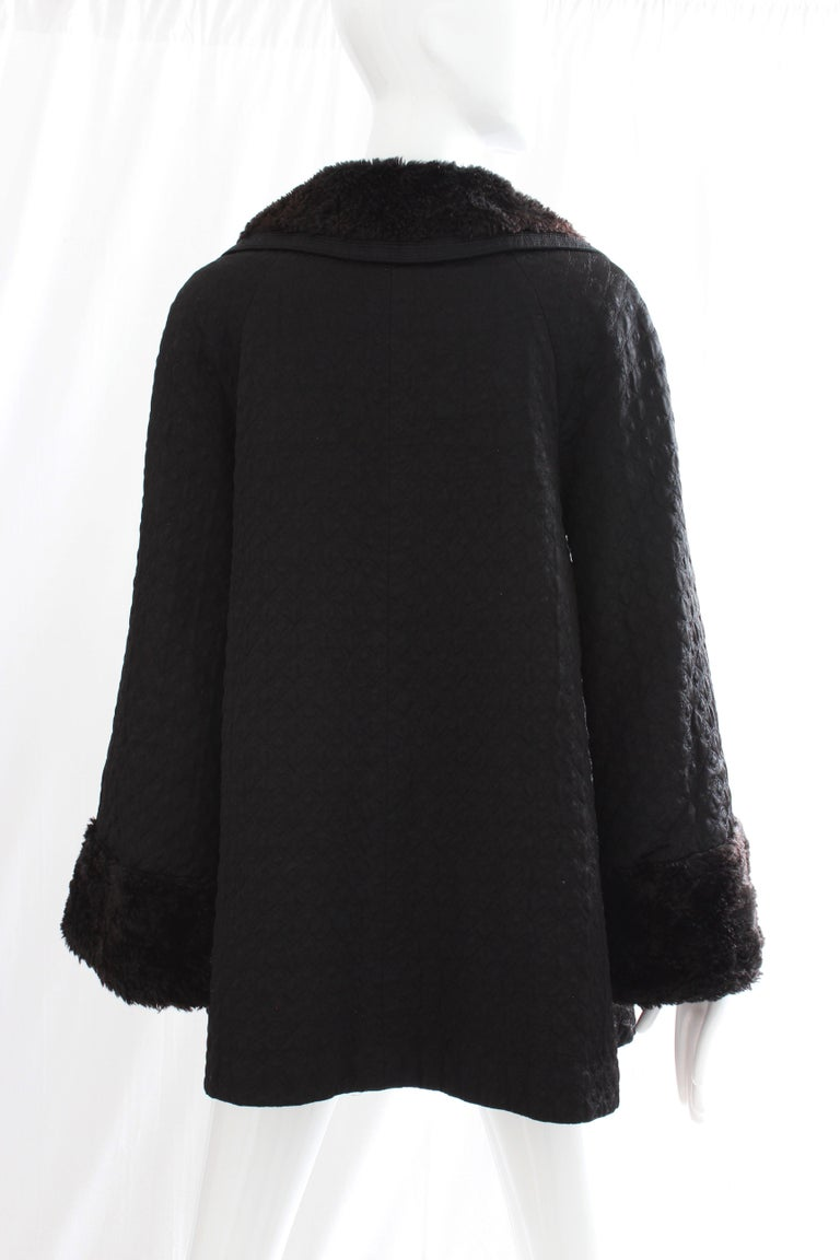 Gianni Versace Jacket or Swing Coat Diamond Quilted Black Satin with Fur Trim 38 For Sale 2