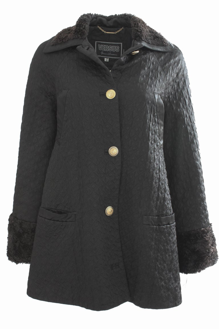 Gianni Versace Jacket or Swing Coat Diamond Quilted Black Satin with Fur Trim 38 For Sale 3