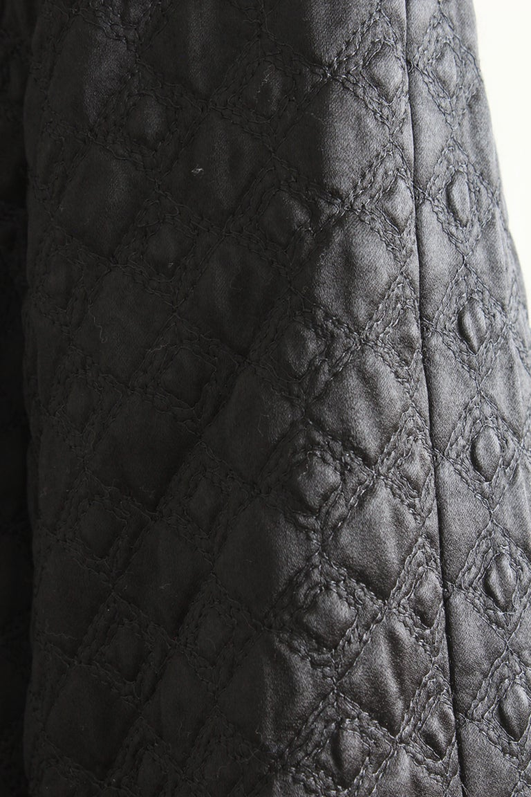 Gianni Versace Jacket or Swing Coat Diamond Quilted Black Satin with Fur Trim 38 For Sale 4