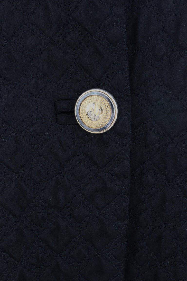 Gianni Versace Jacket or Swing Coat Diamond Quilted Black Satin with Fur Trim 38 For Sale 5