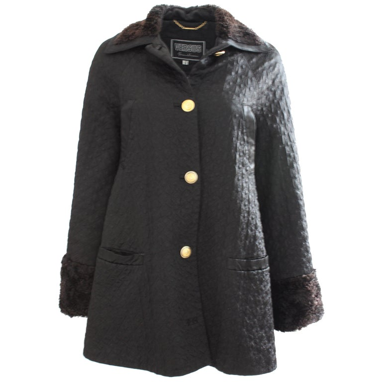 Gianni Versace Jacket or Swing Coat Diamond Quilted Black Satin with Fur Trim 38 For Sale