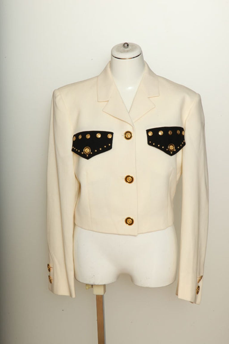 Gianni Versace Couture jacket with gold Medusa buttons. Ivory/Black.