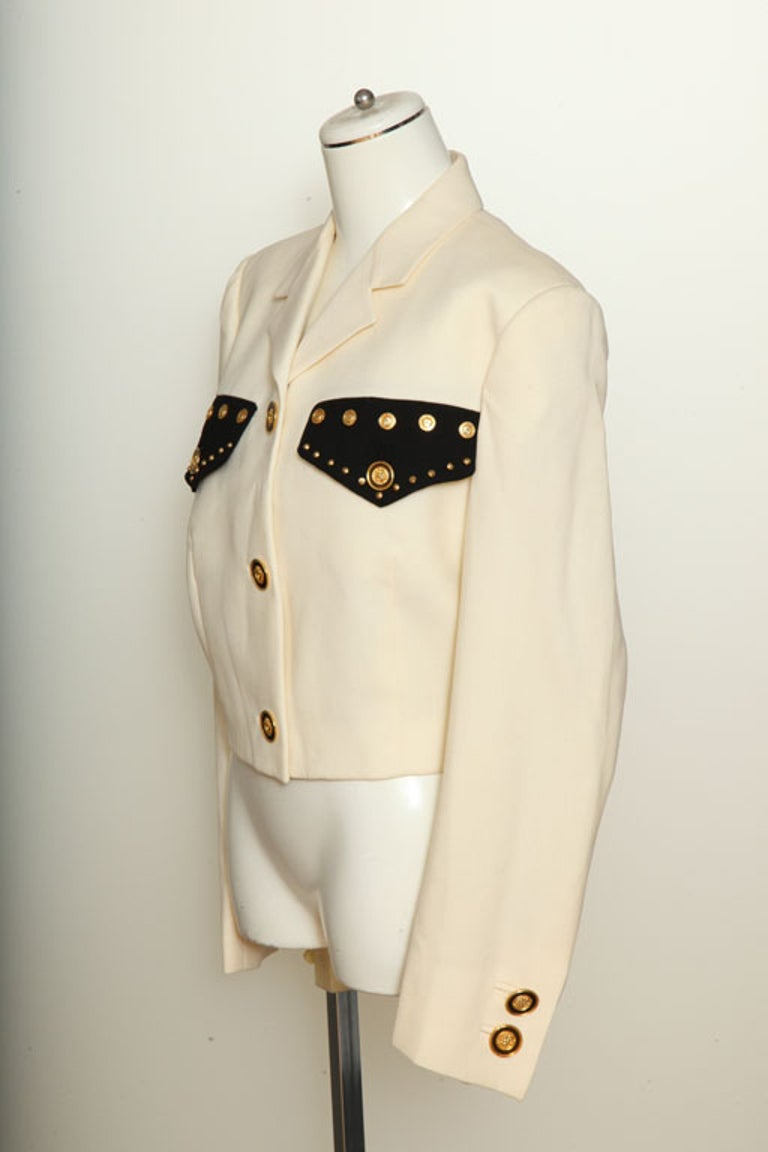 Gianni Versace Jacket with Medusa Buttons For Sale 1