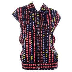 Gianni Versace Jeans Couture 1995 Multicolor Berries Fruit Vest w Medusa Buttons