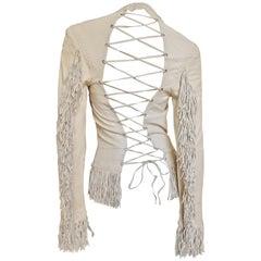 Gianni Versace Lace-up Fringe Leather Jacket