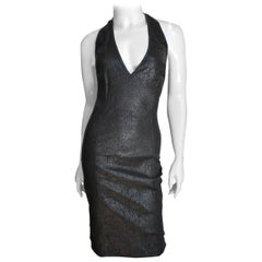 Gianni Versace Laser Perforated Leather Halter Dress