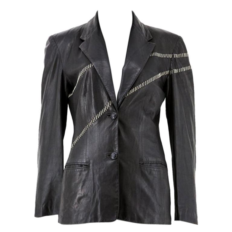 Gianni Versace Leather Blazer with Chain Stitching