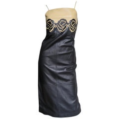 Gianni Versace Leather Color Block Dress with Applique Roses 1990s
