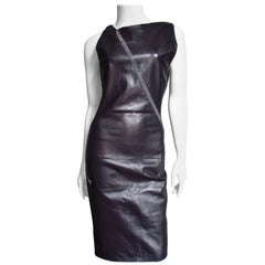 Gianni Versace Leather Dress with Chain Trim