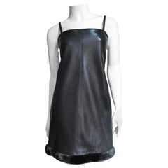 Gianni Versace Leather Dress with Mink Hem