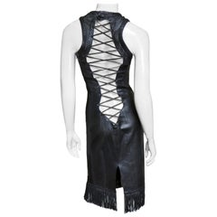 Gianni Versace Leather Fringe Lace up Back Dress