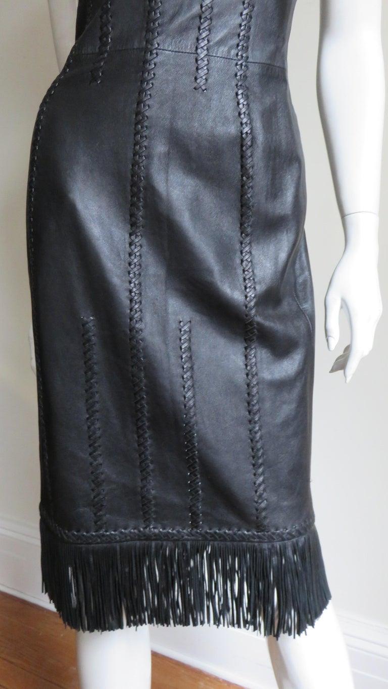 Gianni Versace Leather Fringe Laceup Backless Dress For Sale 5