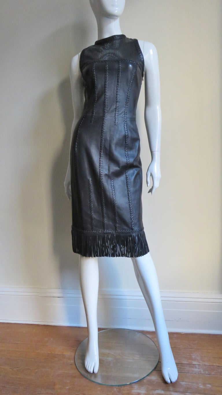 Gianni Versace Leather Fringe Laceup Backless Dress For Sale 7