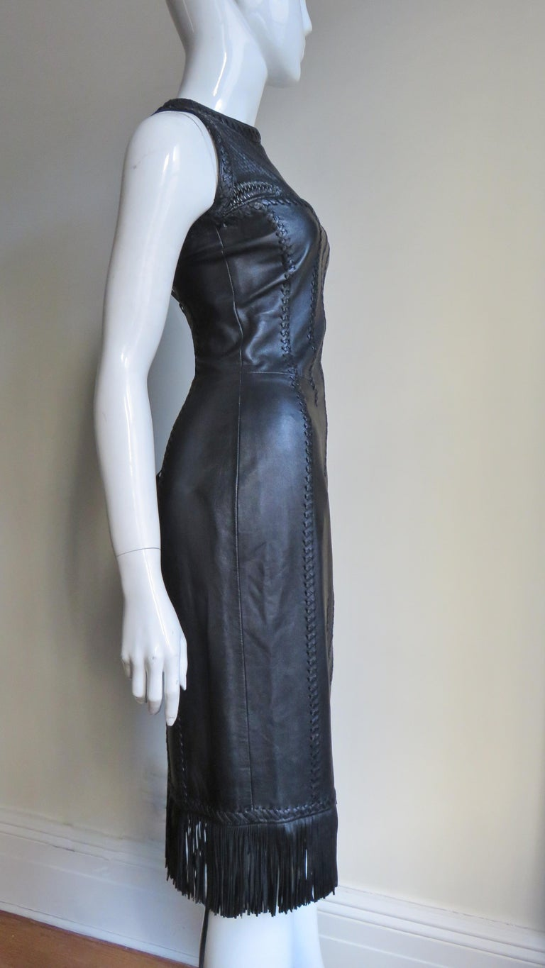 Gianni Versace Leather Fringe Laceup Backless Dress For Sale 8