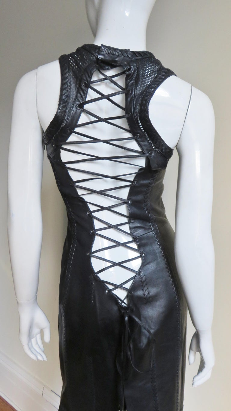 Gianni Versace Leather Fringe Laceup Backless Dress For Sale 10