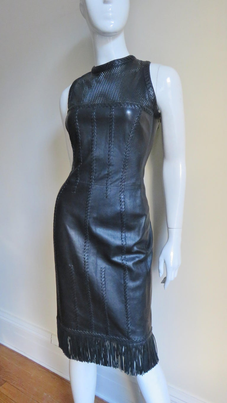 Gianni Versace Leather Fringe Laceup Backless Dress For Sale 1