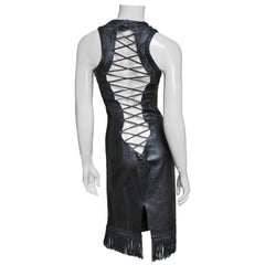 Gianni Versace Leather Fringe Laceup Backless Dress