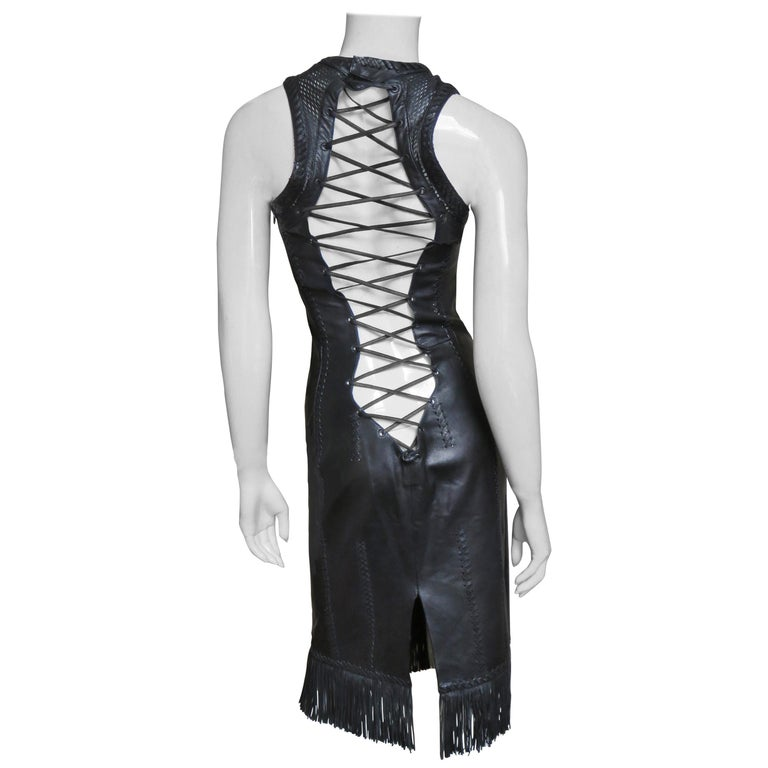 Gianni Versace Leather Fringe Laceup Backless Dress For Sale
