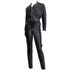 Gianni Versace Leather Motorcycle Jacket and Pants With Chain Trim 1990s