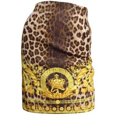 Gianni Versace Leopard Baroque Print Skirt 1990s