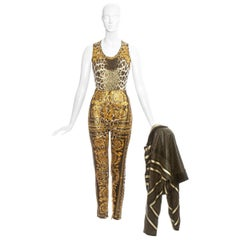 Gianni Versace leopard printed ensemble with studded leather jacket, ss 1992