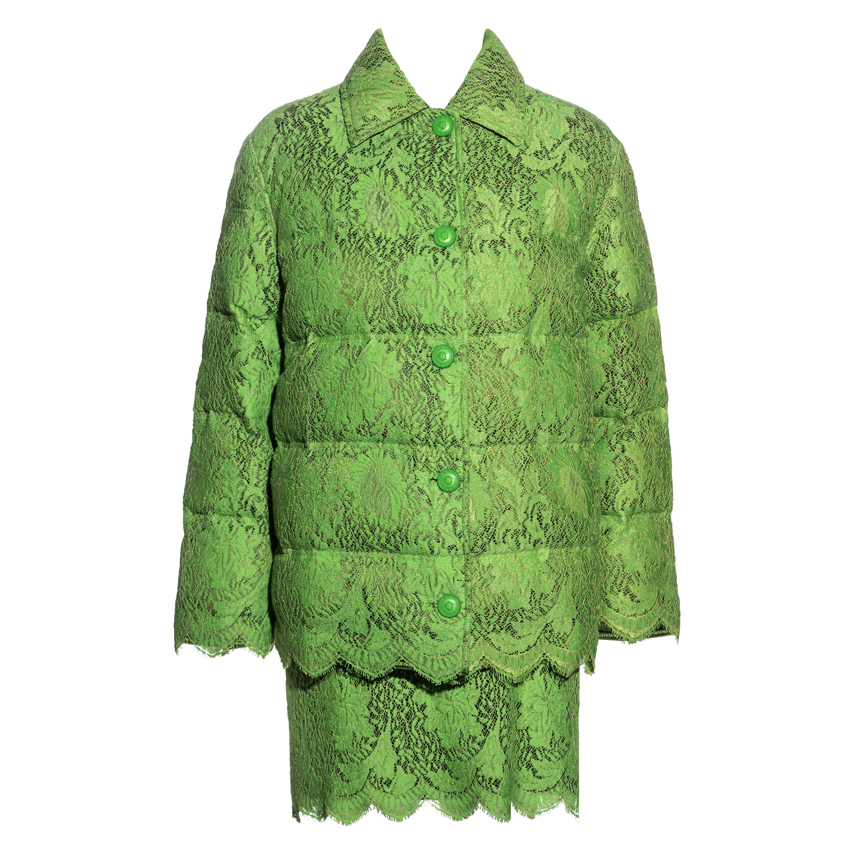 Gianni Versace lime green lace goose down puffer jacket and skirt set, fw 1996
