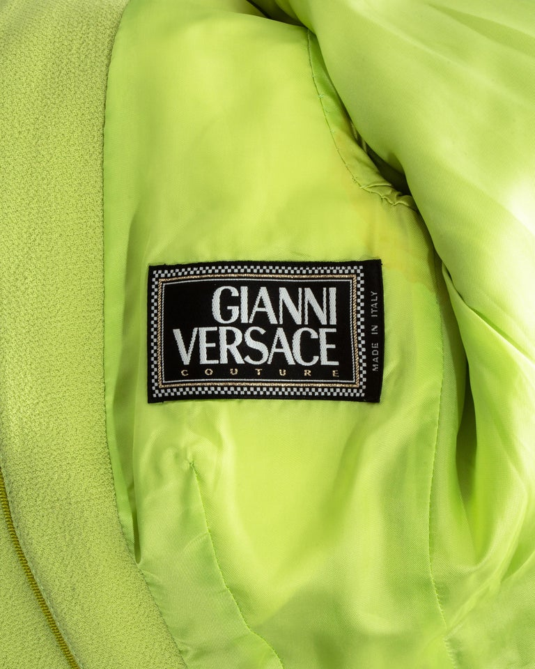 Gianni Versace lime green wool and leather buckle bondage skirt suit, fw 1992 For Sale 5