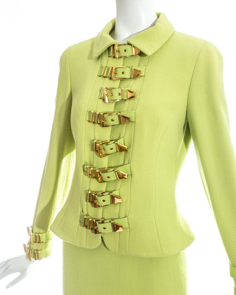 Green Gianni Versace lime green wool and leather buckle bondage skirt suit, fw 1992 For Sale