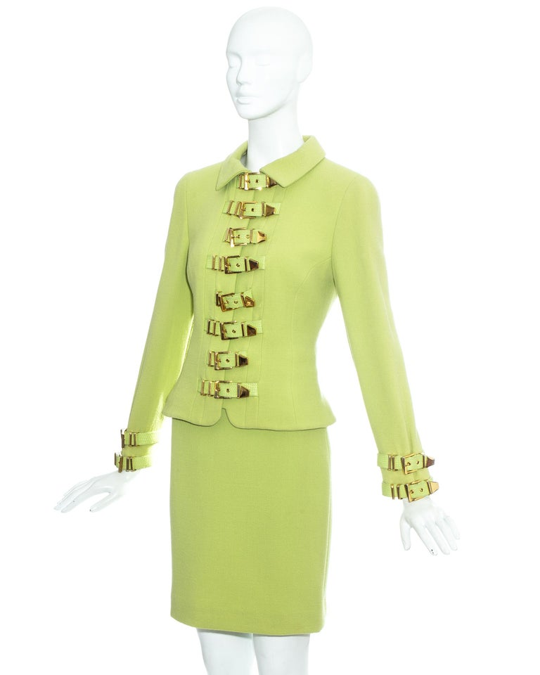 Gianni Versace lime green wool and leather buckle bondage skirt suit, fw 1992 In Good Condition For Sale In London, GB