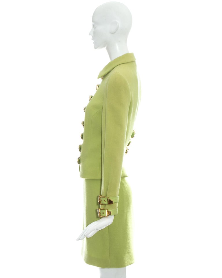 Gianni Versace lime green wool and leather buckle bondage skirt suit, fw 1992 For Sale 2