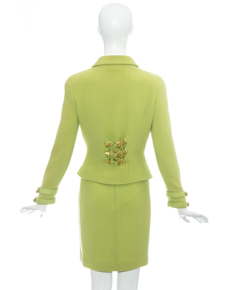 Gianni Versace lime green wool and leather buckle bondage skirt suit, fw 1992 For Sale 3
